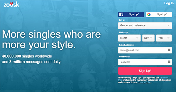 Zoosk Review - Website Page